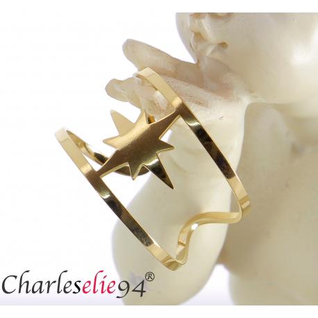 Bague en acier doré étoile réglable MOKI18 Bijoux fantaisie
