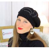 Bonnet béret femme hiver cachemire brodé perles noir 6624 Béret femme