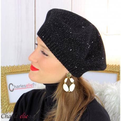 Bonnet béret femme hiver angora laine luxe noir HL21 Accessoires mode femme