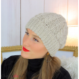 Bonnet alpaga laine grosse maille torsadé hiver beige B01 Accessoires mode femme