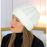Bonnet alpaga laine grosse maille torsadé hiver ecru B01 Accessoires mode femme