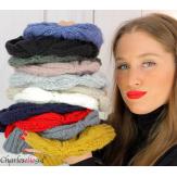 Bonnet alpaga laine grosse maille torsadé hiver gris clair B01 Accessoires mode femme