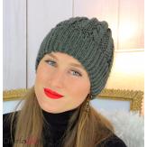 Bonnet alpaga laine grosse maille torsadé hiver kaki B01 Accessoires mode femme