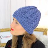 Bonnet alpaga laine grosse maille torsadé hiver bleu jean B01 Accessoires mode femme