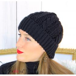 Bonnet alpaga laine grosse maille torsadé hiver noir B01 Accessoires mode femme