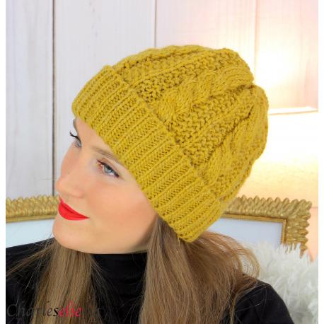 Bonnet alpaga laine grosse maille torsadé hiver moutarde B01 Accessoires mode femme