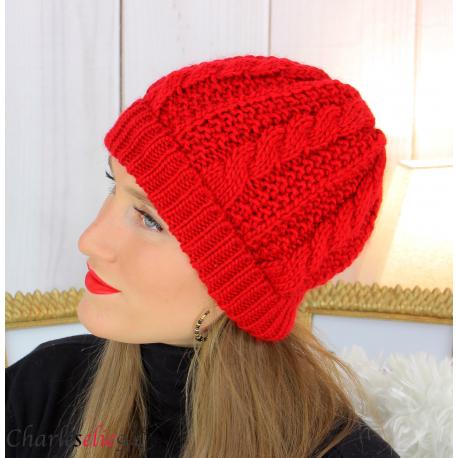 Bonnet alpaga laine grosse maille torsadé hiver rouge B01 Accessoires mode femme