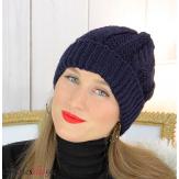 Bonnet alpaga laine grosse maille torsadé hiver bleu marine B01 Accessoires mode femme