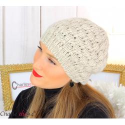 Bonnet béret alpaga laine grosse maille gaufré beige B02 Accessoires mode femme