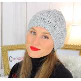 Bonnet béret alpaga laine grosse maille gaufré gris clair B02 Accessoires mode femme