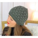 Bonnet béret alpaga laine grosse maille gaufré kaki B02 Accessoires mode femme