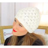 Bonnet béret alpaga laine grosse maille gaufré écru B02 Accessoires mode femme