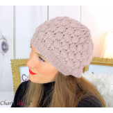 Bonnet béret alpaga laine grosse maille gaufré rose B02 Accessoires mode femme
