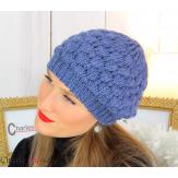 Bonnet béret alpaga laine grosse maille gaufré bleu jean B02 Accessoires mode femme