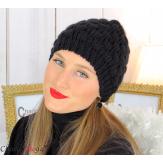 Bonnet béret alpaga laine grosse maille gaufré noir B02 Accessoires mode femme