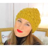 Bonnet béret alpaga laine grosse maille gaufré moutarde B02 Accessoires mode femme