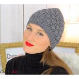 Bonnet béret alpaga laine grosse maille gaufré gris foncé B02 Accessoires mode femme
