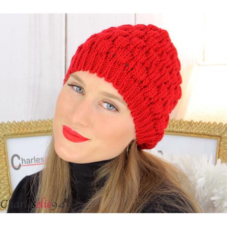 Bonnet béret alpaga laine grosse maille gaufré rouge B02 Accessoires mode femme