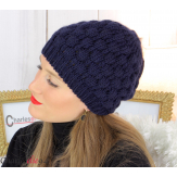 Bonnet béret alpaga laine grosse maille gaufré bleu marine B02 Accessoires mode femme