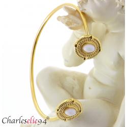 Bracelet manchette acier doré jade blanc BM12 Bracelet manchette