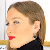 Boucles d'oreilles tombantes acier doré agate noire bcl19 Boucles d'oreilles