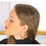Boucles d'oreilles créoles acier doré perles bcl16 Boucles d'oreilles