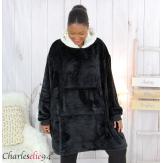 Poncho long capuche polaire noir grandes tailles BANGO Poncho femme grande taille