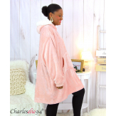 Poncho long capuche polaire rose grandes tailles BANGO Poncho femme grande taille