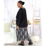 Jupe longue plissée noire grandes tailles AZILIS Jupe femme grande taille