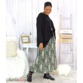 Jupe longue plissée grandes tailles kaki AZILIS Jupe femme grande taille