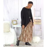 Jupe longue plissée grandes tailles choco AZILIS Jupe femme grande taille