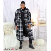 Manteau long noir à carreaux en laine grandes tailles BOY Manteau femme grande taille