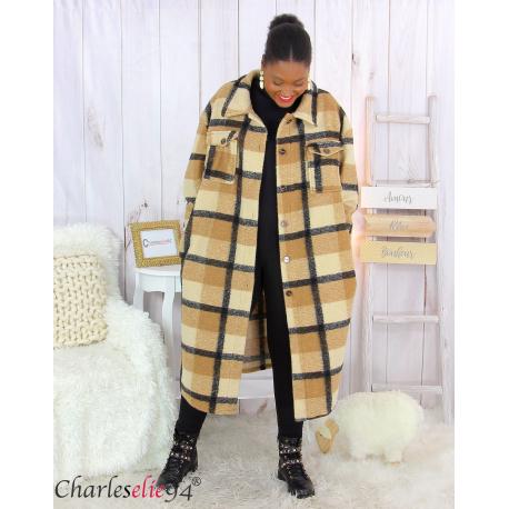Manteau long à carreaux en laine grandes tailles camel BOY Manteau femme grande taille