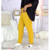 Pantalon jogg femme grandes tailles stretch moutarde TILIO Pantalon femme grande taille