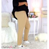 Pantalon jogg femme grandes tailles stretch camel TILIO Pantalon femme grande taille