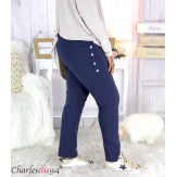 Pantalon jogg femme grandes tailles stretch marine TILIO Pantalon femme grande taille
