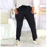 Pantalon jogg femme grandes tailles stretch noir NOAH Pantalon femme grande taille