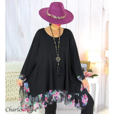 Tunique longue femme grande taille noire VALENTINE 6 Tunique femme grande taille