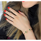 Bracelet manchette acier doré et agate noire BM10 Bracelet manchette
