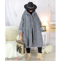 Manteau hiver capuche bouclette grande taille VITTO gris chiné Manteau femme grande taille