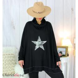 Pull tunique doux col roulé étoile noir SARRA Pull femme grande taille