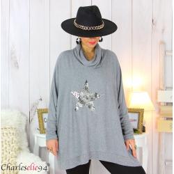 Pull tunique doux col roulé étoile gris clair SARRA Pull femme grande taille