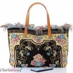 Grand sac cabas vintage cuir noir KILIMA made in Italy Sacs à main