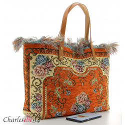 Grand sac cabas vintage cuir brique KILIMA made in Italy Sacs à main