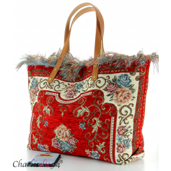 Grand sac cabas vintage cuir rouge KILIMA made in Italy Sacs à main