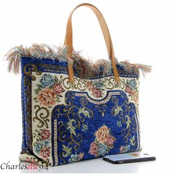 Grand sac cabas vintage cuir bleu KILIMA made in Italy Sacs à main