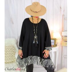 Tunique longue femme grande taille noire VALENTINE 9 Tunique femme grande taille