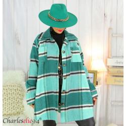 Veste surchemise longue carreaux grandes tailles amande LOUANE Veste femme grande taille