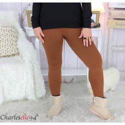 Legging polaire brique ventre plat grande taille DINO Legging grande taille