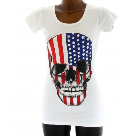 T Shirt Top Haut Flag USA Coton 36 38 40 Tunique - DEAD - Femme - CharlesElie94